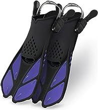 Greatever Snorkel Fins Adjustable Buckles Open Heel Swim Flippers Travel Size Short Swim Fins for Snorkeling Diving Swimmi...