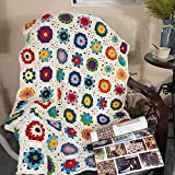 Handmade Crochet Throw Blanket Sweater Style Year Round Gift Indoor Outdoor Travel Accent Throw for Sofa Comforter Couch Bed Recliner Living Room Bedroom Decor 47' x31' (White)