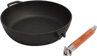 (28 (EU)) - Saute Pan Cast Iron Frying Pan with Removable Handle Diameter 24, 26, 28 cm. Hone 58 and 6.6 cm., black, 28 (EU)