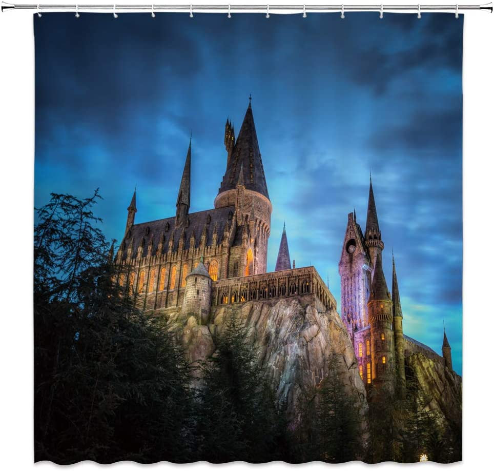 Magic Castle Shower Curtain Decor Magic World Fantasy Building Blue Sky Stone Hill Green Tree Night Scenery Bathroom Curtain Polyester Fabric Machine Washable with Hooks 70 x 70 Inches (Multi 2433L)