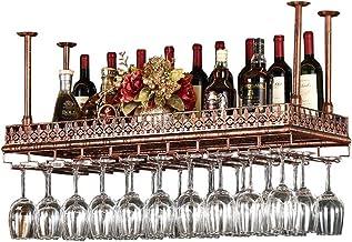Wall Shelf Storage Rack, Wine Bottle Holder, Ceiling Wine Racks, Vintage Wall Shelf Storage Rack Wall-Mounted for Living R...