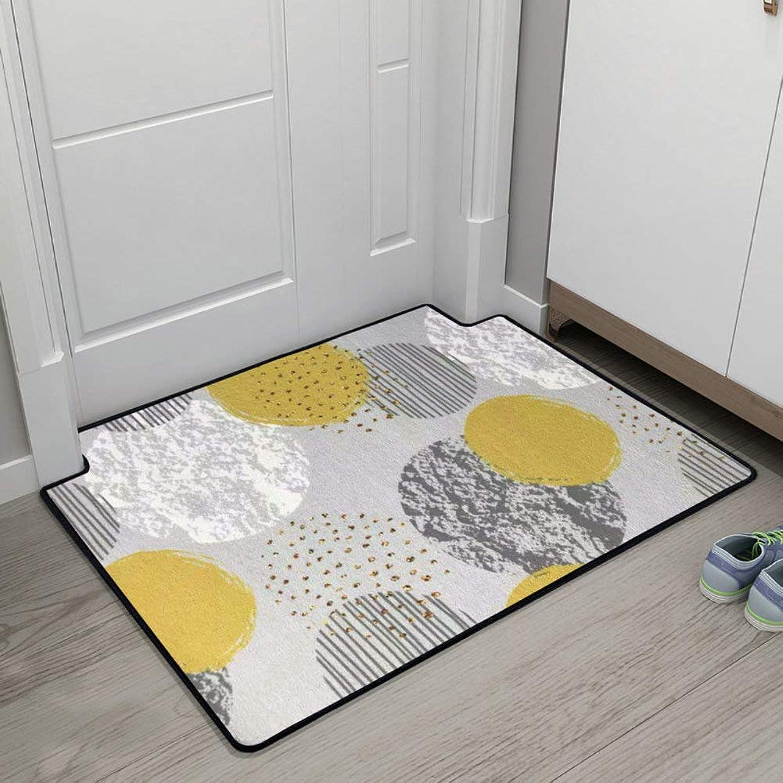 Doormat,Entrance Doormat Floor Mats Carpet Door Mat Geometric Patterned Anti-skidding-Yellow 60x90cm(24x35inch)