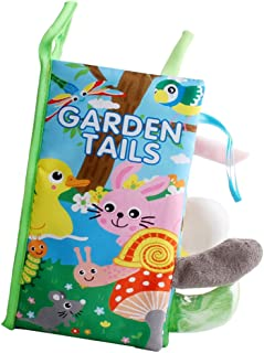 MagiDeal Baby Developmental Animal Tail Soft Cloth Book Children Infant Cognitive Educational Toy - Garden Tail