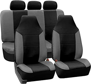 FH Group PU103115 High Back Royal PU Leather Car Seat Covers, Airbag & Split Ready, Gray/Black w Fit Most Car, Truck, SUV, or Van