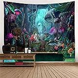 L/S Wandteppich Psychedelic Mushrooms 180x230 Wandbehang Fantasy Weed Wandbehang Natur Landschaft Nacht Wandtuch Tapestry Tapisserie Wandkunst Tischdecke Schlafzimmer