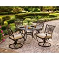 """Hanover Traditions 5-Piece Cast Aluminum Outdoor Patio Dining Set, 4 Swivel Rocker Chairs and 48"""" Round Table, Brushed Bronze Finish with Tan Cushions, Rust-Resistant, TRADITIONS5PCSW"""