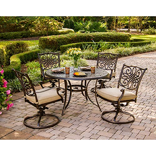 "Hanover Traditions 5-Piece Cast Aluminum Outdoor Patio Dining Set, 4 Swivel Rocker Chairs and 48"" Round Table, Brushed Bronze Finish with Tan Cushions, Rust-Resistant, TRADITIONS5PCSW"