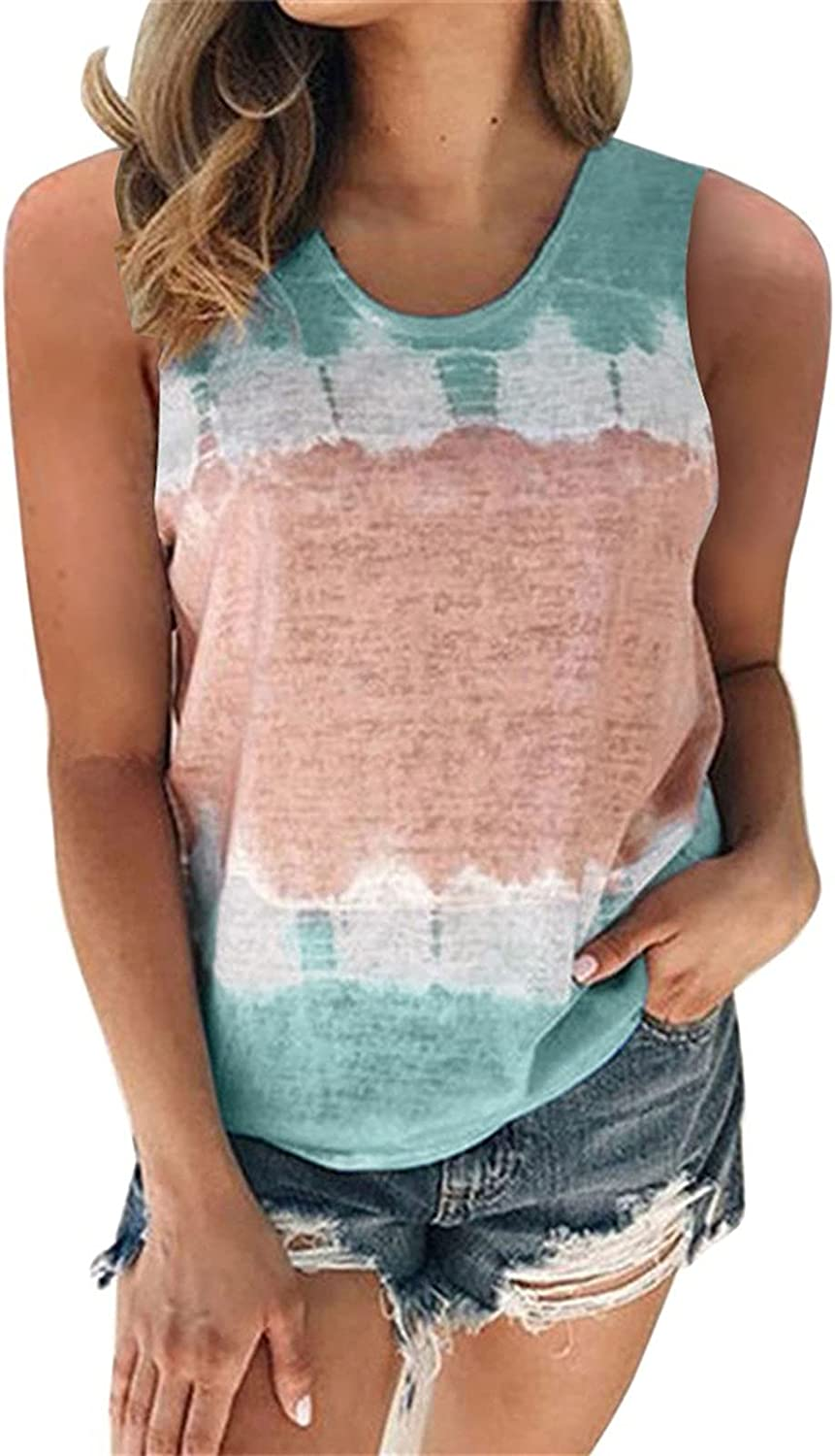 ovticza Plus Size Tank Tops for Women Tie-dye Print Loose Fitted Camisole Summer Casual Crew Neck Camis Vest