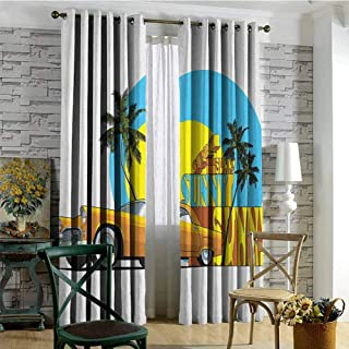 hengshu Retro Shading Insulated Curtain Vintage Car in Magic City Miami with Exotic Coconut Trees Sunny Day Beach for Living Room or Bedroom W84 x L96 Inch Yellow Blue Orange