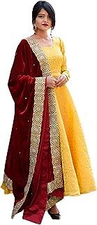 Rajkumari Women's Brocade Anarkali Suit with Velvet Dupatta