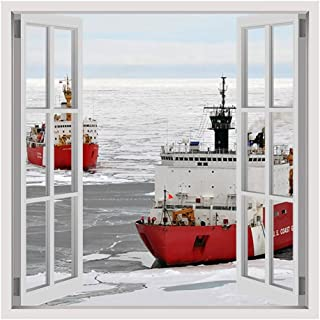 Alonline Art - Ice Breakers Ships by Fake 3D Window | print on high quality fine art photo paper poster (Rolled) | 12
