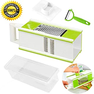 Vegetable Slicer,Cheese Grater,Food Julienne Shredder and Fruit Peeler 5 In 1 Set for Kitchen,4 Sided Handheld Box Grater and Food Gratings Storage Container