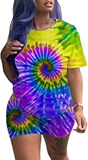Women Casual 2 Piece Outfit Short Sleeve Tie Dye Round Neck Bodycon Shorts Jumpsuit Rompers Plus Size