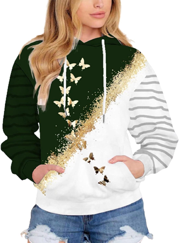 Sweatshirt for Women, wodceeke Womens Butterfly Print Drawstring Blouse Long Sleeve Hooded Sweatshirts Casual Pockets Tops