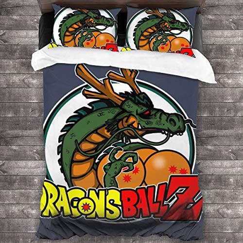 KUKHKU Dragons Ballz Dragon Ball Z Juego de ropa de cama de 3 piezas con funda de edredón de 86 pies x 70 pies, juego de cama decorativo de 3 piezas con 2 fundas de almohada