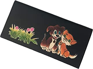 BPLeathercraft Genuine Leather Checkbook Cover, the Best Friend Doggy and Kitty Pattern (Black)