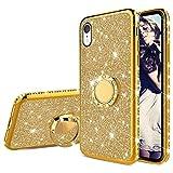 """Misstars Brillantini Glitter Cover per iPhone XR Oro, Bling Diamante Morbida TPU Silicone Custodia Antiurto Protettivo Cover con Supporto ad Anello per Apple iPhone XR (6,1"""")"""