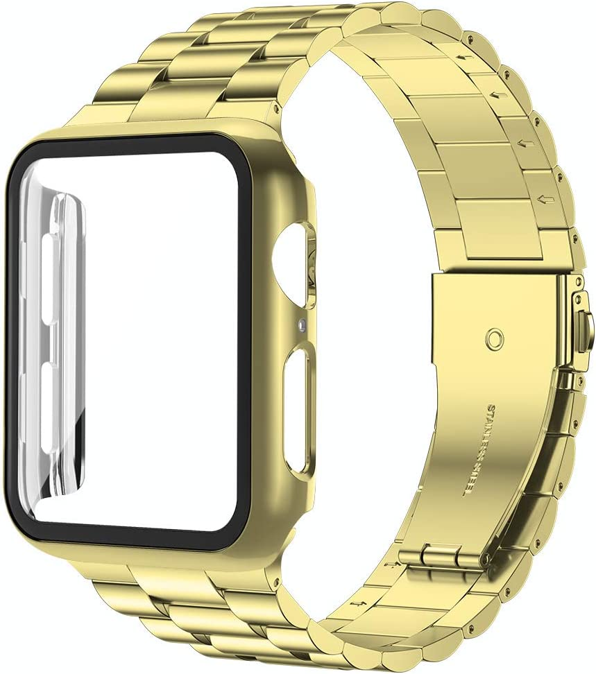 baozai Compatible with Apple Watch Band 44mm with Case, Stainless Steel Band and Full Cover with iWatch Glass Screen Protector for Series 6/5/4/3/2/1/SE, Gold Band + Case, 44mm