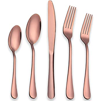 Berglander Rose Gold Silverware Set, 20 Piece Stainless Steel Copper Flatware Set Cutlery Sets, Service for 4 (Shiny Rose Gold)