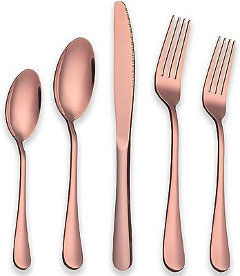 Berglander Rose Gold Silverware Set, 20 Piece Stainless Steel Copper Flatware Set Cutlery Sets, Service for 4 ( Shiny Rose Gold )