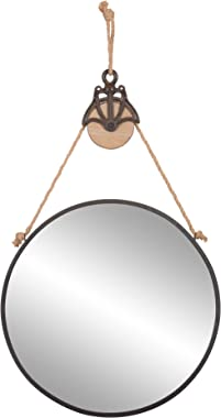 """Patton Wall Decor 24"""" Round Metal Hanging Rope and Antique Pully Wall Mounted Mirrors, Black"""