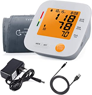 Accurate Digital Automatic Blood Pressure Monitor Upper Arm Cuff for Home with BP Monitors Pulse Hypertension Measurement Larger Cuff 2 Users AC Adapter for Elderly LCD Yellow Display