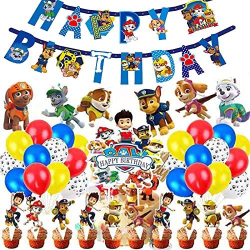 72 Stück Paw Dog Patrol Geburtstags Dekoration Ballons Set Paw Dog Patrol Luftballons Alles Gute Zum Geburtstag Banner Hängen Wirbel Dekorationen für Kinder Pfotenpatrouillen Partydekorationen