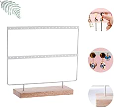 Earring Holder jewelry stand 2-Tier Earring Stand Organizer Jewelry Display Hanger Rack Jewelry Tower with Wooden Tray for Necklace Bracelet Rings (40 Holes 2 Layers)