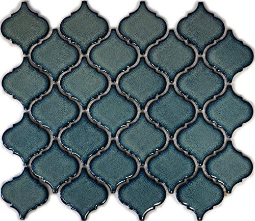 Retro Vintage Mosaik Fliese Keramik Florentiner blau gesprenkelt glänzend für WAND BAD WC DUSCHE KÜCHE FLIESENSPIEGEL THEKENVERKLEIDUNG BADEWANNENVERKLEIDUNG WB13-0408