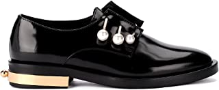 Coliac Woman's Derby Fernanda Black Leather Shoes with Jewel Pins