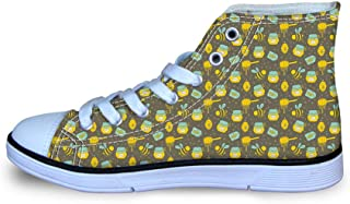 Canvas High Top Sneaker Casual Skate Shoe Boys Girls Honey Honeycomb Smiling Bee