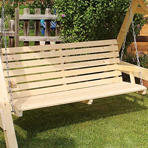 Oskar-Store Hollywoodschaukel Audrey Holz Gartenschaukel Schaukel Gartenmöbel 3-Sitzer (Beige) - 4
