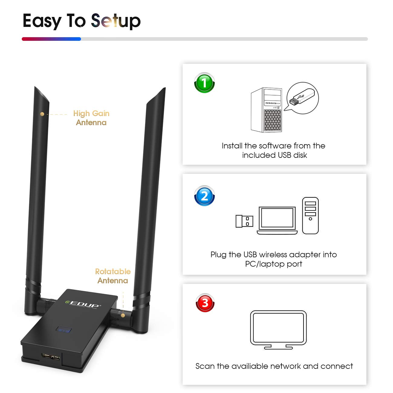 EDUP WiFi Adapter 1300Mbps USB 3.0 High Gain Wireless Adapter 802.11AC Dual Band with 5G//867Mbps 2.4G//400Mbps 6DBI External Dual Antennas Supports Windows 10//8.1//8//7//XP//Vista Mac OS X 10.7-10.13