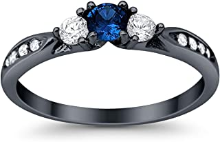925 Sterling Silver Black Tone Rhodium Plated Ring, Round Simulated Blue Sapphire with Clear CZ Accent