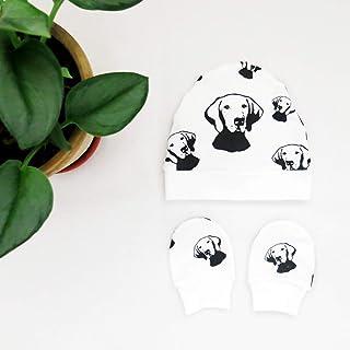 Vizsla Print Organic Cotton Baby Beanie Hat And No Scratch Mittens Set Newborn Unisex