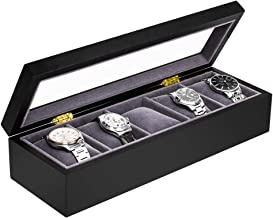 Baskiss 5 Slots Watch Box for Men, Solid Wood Watch Display Storage Case Jewelry Organizer with Clear Top