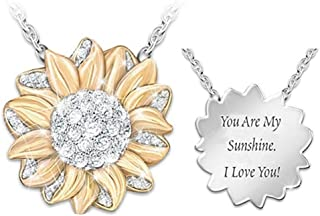 ATIMIGO You are My Sunshine Engraved Locket Necklace Memorial Sunflower Pendant Necklace Jewelry Women Girls