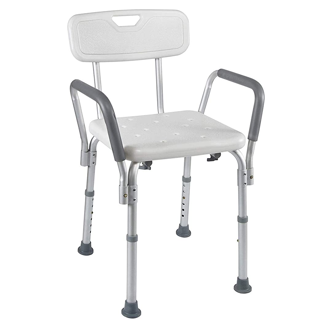 話をするエンドウくそー医療スパ浴槽シャワーリフトチェア - ポータブルバスシート - 調節可能なシャワーベンチチェア付きアーム&滑り止めラバーチップ