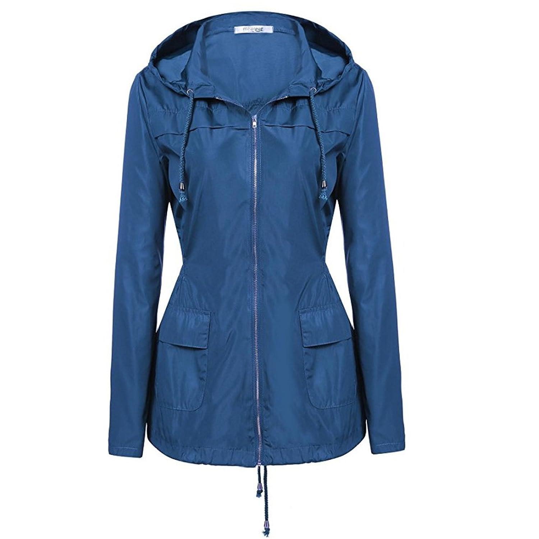 通気性のある 女性の ピュアブルー レインコート フード付き 日焼け止め 防水 レインコート アウトドア ジャケット レインコート (サイズ : L)