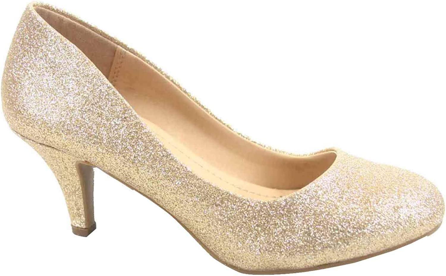 CITYCLASSIFIED Carlo-s Women's Classic Comfort Round Toe Low Heel Pump Office shoes (9 B(M) US, gold)