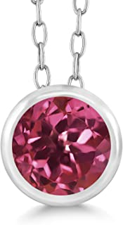 Gem Stone King 0.50 Ct Round Pink Tourmaline 925 Sterling Silver Pendant With Chain