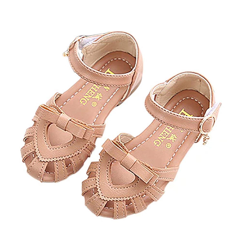 [FollowDream] キッズサンダル 女の子 ビーチサンダル つま先保護 リボン付き ベビーシューズ 子供靴 ジュニア ガールズ 軽量 履きやすい 滑り止め 夏 小学生 通学 通園
