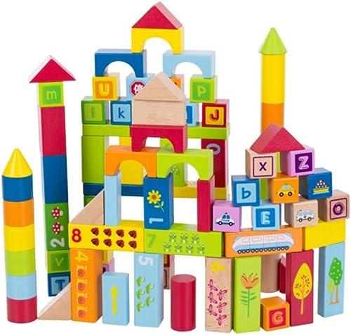 Sunasd Building Spiel Bausteine  pielzeug Holz Massivholz Größe Partikel Kinder Bausteine  ontage Spielzeug 1-2-3-6 Jahre Alt Junge und mädchen Puzzle Bl e, 90 Tabletten