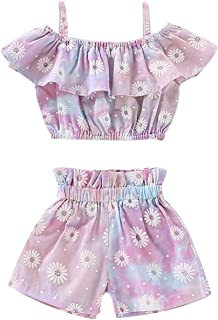 Kids Little Baby Girls Ruffled Sling Halter Pink Crop Top + Rainbow Bow Shorts Outfit Clothes Set