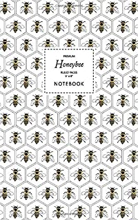 Honeybee Notebook - Ruled Pages - 5x8 - Premium: (White Edition) Fun bee notebook 96 ruled/lined pages (5x8 inches / 12.7x...