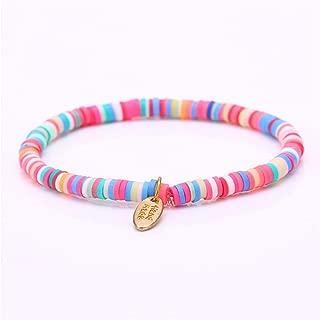 HOUBL New Handmade Boho Bracelet Femme Candy Color Polymer Clay Elastic Charm Bracelet for Women Jewelry Wristband pulseras Mujer Girl