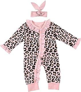 Riou Tutina Neonato Ruffle Leopardato Pagliaccetto con Bottone Inverno Bambino Costumi +Fascia per Capelli
