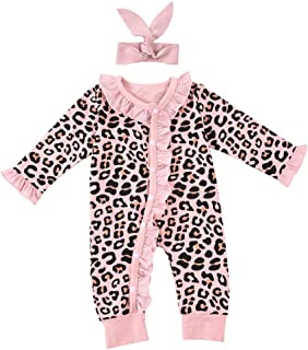 YIWAWQIAN Neugeborene Baby Flare Ärmel Leopard Bedruckte Overall Strampler  Stirnbänder