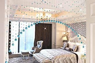 Pindia 10 String Fancy Sparkling Arch Bead Hanging Curtain with Pure Glass Drops - Aqua