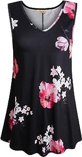 Cyanstyle Womens Sleeveless V Neck Floral Flowy Tank Top Print Flowy Tunic Shirts